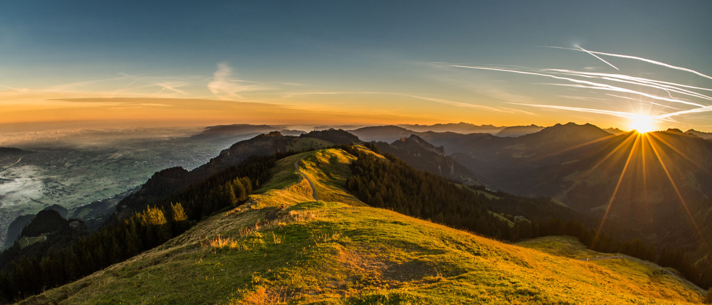View of the Rhine Valley from the peak of Hohe Kugel – the area is often referred to as the Silicon Valley of the Alps
